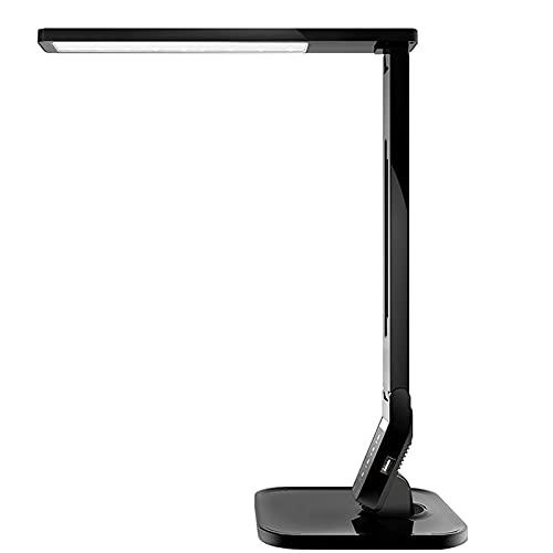 Eye-CaringTable - Lámpara LED de escritorio con puerto de carga USB, 4 modos de iluminación con 5 niveles de brillo, temporizador de 1 h, control táctil, función de memoria, 14 W, color negro