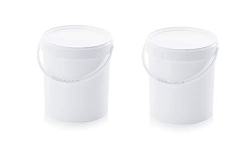 2x Eimer 20l mit Deckel * lebensmittelecht * 20 Liter * weiß * Kunststoffeimer