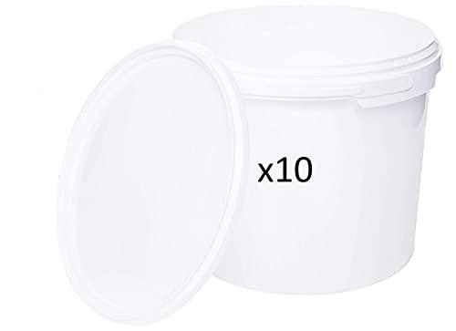 Cubo HERMÉTICO Catering Pack de 10 X 3 litros - Cubos de Plástico con Tapa - Contenedores Apilables - Envasar Alimentos, Líquidos y Pinturas - Polipropileno Blanco