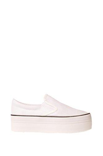 Jeffrey Campbell Donna Scarpa Sneaker con Zeppa Nero Blu Bianco WTF Zip Canvas 37 Bianco