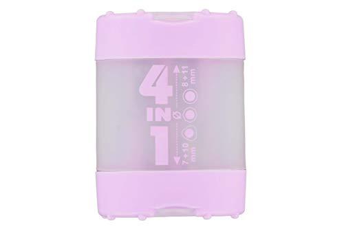 KUM AZ102.83.19-G - Sacapuntas 4 en 1 K4 G de plástico, cierre de click clack, color Lila pastel.