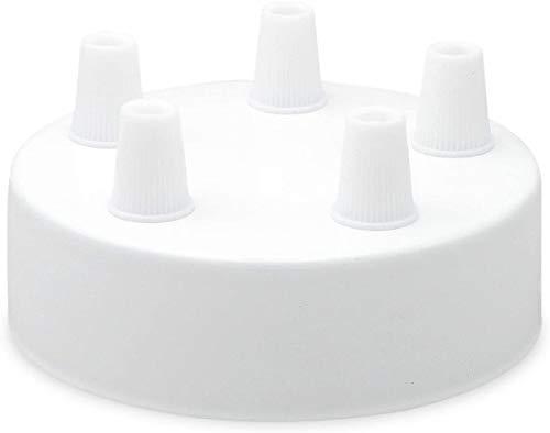 Lampen Baldachin aus Edelstahl weiß Ø 10 × H 3,1 cm - Abdeckung für Hängelampen und Befestigungsmaterial. Ausgang 5 Kabel