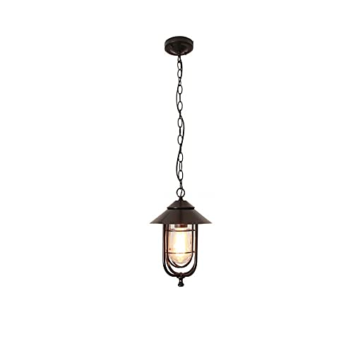 Lámpara colgante retra Lámpara de lámpara de lámpara, accesorio de luz al aire libre para el porche, linterna exterior de 1-ligera rústica colgando de la lantidez en negro y madera con vidrio acanalad