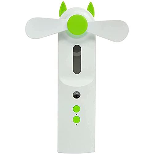 WACZJ Mini Ventilatore Portatile 2 velocità USB Ricaricabile Funzione di spruzzatura Automatica per scrivania Auto casa Ufficio Viaggiare,Verde