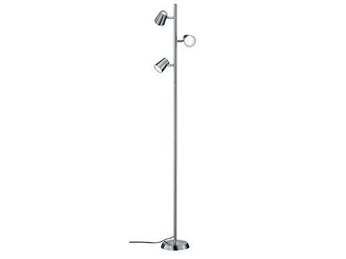 Trio Leuchten LED Stehleuchte Narcos 473190307, Metall Nickel matt / Chrom, 3 x 4,7 Watt, 4 fach Touch Dimmer
