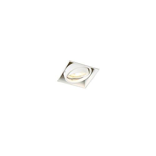 QAZQA Modern Vertiefter Fleck weiß drehbar und kippbar, trimmlos - Oneon 1 / Innenbeleuchtung/Wohnzimmerlampe/Schlafzimmer/Küche Stahl Quadratisch LED geeignet GU10 Max. 1 x 50 Watt