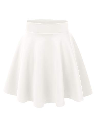 MBJ WB669 Womens Basic Versatile Strechy Flare Skater Skirt M White
