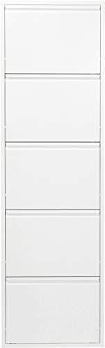 KARE Design Zapatero a 5 Porte Carusa, Blanco, 170 x 50 x 14 cm