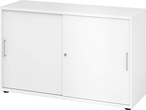 bümö® Schiebetürenschrank mit Schloss | Aktenschrank abschließbar für Ordner | Büroschrank mit Schiebetüren für Akten in Weiß