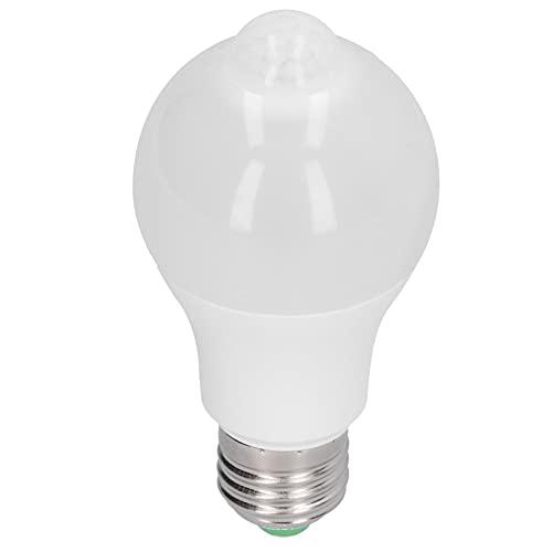 Garosa 85-265V 12W E27 Bombilla LED PIR Detector de movimiento Bombilla LED Lámpara de inducción para pasillo Dormitorio Escalera Pasillo(Luz blanca positiva)