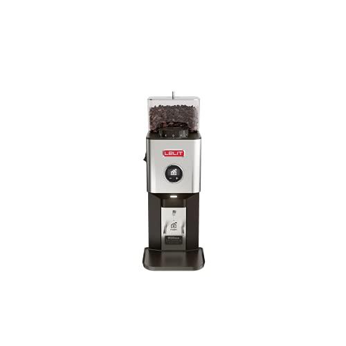 Lelit PL72 William, professionelle On demand Kaffeemühle mit 64 mm flachen Mahlscheiben & schwarzem LCC Bildschirm, um alle Parameter zu leisten, Edelstahl