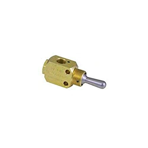 Clippard M-TV-4DMPH 3-Position 4-Way Valve, Enp Steel Toggle, G1/8, 4.5 SCFM at 50 PSIG, 7.5 SCFM at 100 PSIG