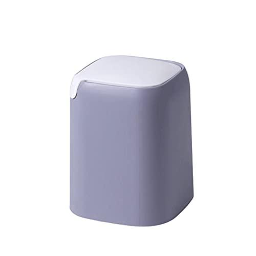Bote de Basura Swing Top Mini Basura Puede con LA Tapa, Pinza de Basura Tinámica de Encimera Cubo de Basura de plástico para Mesa de Centro/Escritorio/Tabletop-4Colors Acero Inoxidable