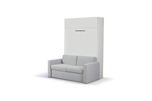 Fantastic Deal! ALADINO Wall Bed with Sofa White-White Gloss (European King Size Wall Bed with Sofa)