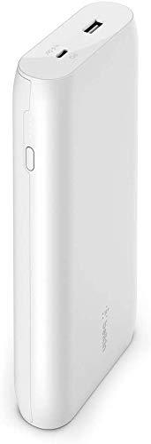 Belkin batería externa USB-C PD 20K (cargador portátil de carga rápida con puertos USB-C + USB, 20 000 mAh de capacidad, power bank para MacBook, iPhone, iPad y otros), blanco