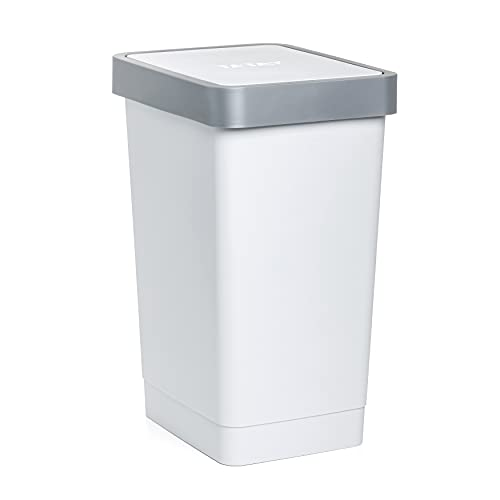 TATAY Cubo de Tapa Basculante Smart, 25L de Capacidad, Polipropileno, Libre de BPA, Bolsa Basura 30L, Color Blanco, Medidas 26 x 34 x 47 cm