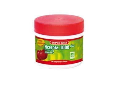 SuperDiet Acérola Bio 1000 Vitamine C maxi pot de 60 comprimés