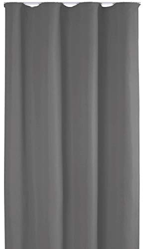 Bestlivings Blickdichte Gardine mit Kräuselband (140x245 cm/Dunkelgrau), in vielen Variationen