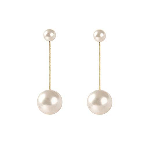 SeniorMar-UK Boucles d'oreilles en Perles de Style Japonais et coréen Longues Belles Boucles d'oreilles en Perles pour Dames Accessoires décoratifs féminins Blanc