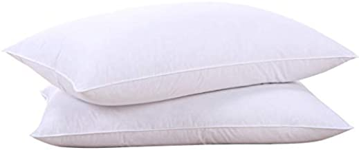 puredown Goose Down Feather White Pillow Inserts, 100% Egyptian Cotton Fabric Cover Bed Pillows, Set of 2 Queen Size