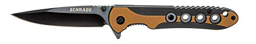 """Schrade 3.5"""" Frontier Ultraglide Folder Knife with 3CR13 Steel Black Oxide Blade & G10 Scale Handle with Finger Flipper and Pocket Clip for Outdoor Survival, Camping and Everyday Tasks, Tan, One Size"""