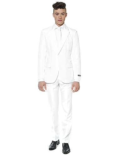 Suitmeister Men Suit Juego de Pantalones de Traje de Negocios, Color Blanco Macizo, L para Hombre