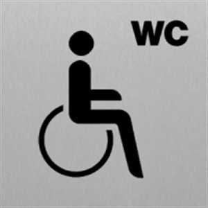 Türschild Piktogramm Rollstuhlfahrer Alu silber eloxiert 14,8 x 14,8 cm (Rollstuhl, WC, Toilette) praxisbewährt, wetterfest
