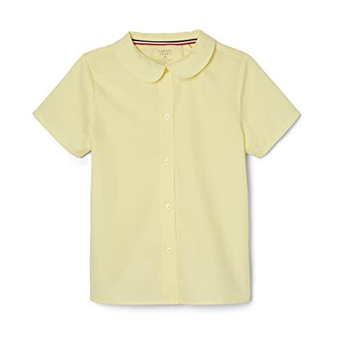 French Toast Big Girls' Short Sleeve Peter Pan Collar Blouse, Yellow, 8
