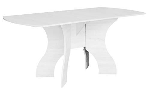 Rodnik Esstisch weiß ausklappbar-Klapptisch Weiss - abgerundete Ecken - klappbarer Tisch - 376-4