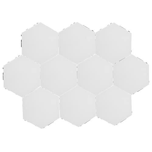 FECAMOS Innovadora Forma Hexagonal luz para el hogar DIY lámpara Decorativa de Pared actualización lámpara Sensible al Tacto Luces de Empalme DIY 100 V-240 V(10 Luces con Fuente de alimentación (UE))