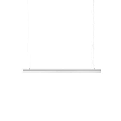Lámpara Colgante Lineal 220/240V 50Hz de Acero Inoxidable Pulido Espejo y Lacado Mate, Modelo Fornell ABF1, Acabado Blanco Mate, 6 x 120 x 10 centímetros (Referencia: 23000001)