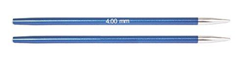 KnitPro wechselbare Nadelspitzen ZING lang, 4,00mm Rundstricknadel, Aluminium, Saphir blau, 12.5 x 0.4 x 0.4 cm