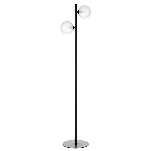 Lámpara de pie led de metal con bola contemporánea negra,