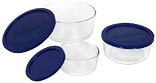 Premium Superior Quality Pyrex 6010170 Storage 6-Piece Round Set Clear with Blue Lids