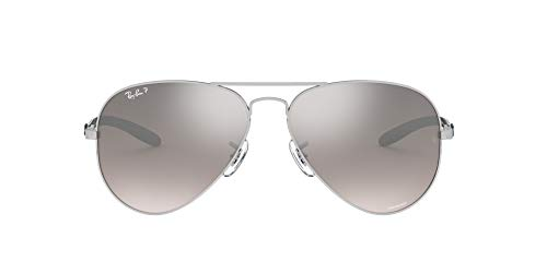 Ray-Ban RB8317CH Chromance Mirrored Aviator Sunglasses, Shiny Silver/Polarized Silver Mirror, 58 mm