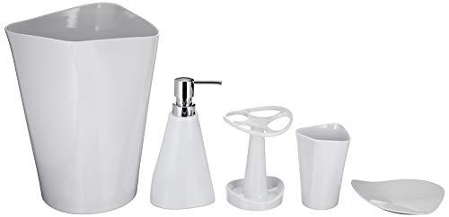 Amazon Basics 5 piezas - Juego de accesorios para cuarto de baño de bambú - Blanco liso