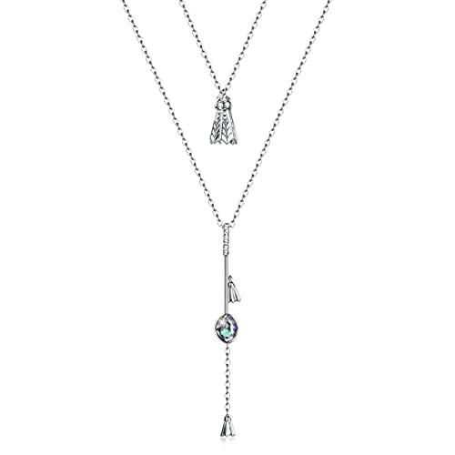 BENHAI Mujer/Niñas Pluma de Diseño Cristales Colgante Collar, 925 Plateado Swarovski Element Colgante Joyería Regalo para el día de la Madre para Mujer De Amor Regalos para Mamá 41+4cm