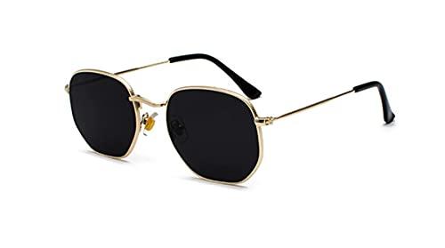 Óculos De Sol Vintage Feminino Masculino Hexagonal Metal Desenho: Hexagonal/Dourado- Preto; Tamanho: Médio