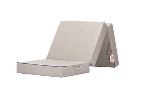 Gigapur 25069 Visco Luxus Klappmatratze, Komfort Schaumstoff-Faltmatratze, Kaltschaummatratze belastbar bis 90 Kg, grau