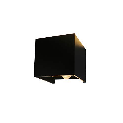 Klighten LED wandlamp waterdicht wandlamp met bewegingssensor IP65 LED wandlamp wandverlichting binnen & buiten warm wit (zwart 7W)