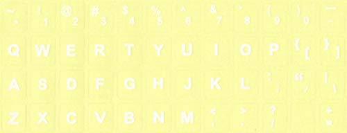 Tastaturaufkleber US ENGLISCH durchsichtiger Untergr& Pinzette und Putztuch Set passend ALLE PC, Notebook (Weiß)