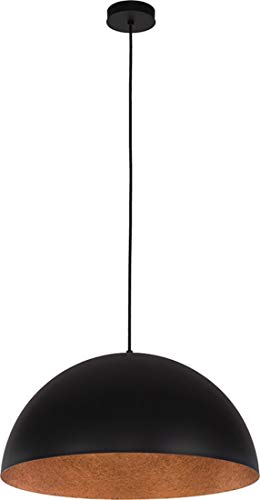 elbmöbel Design Industrie Pendelleuchte Sofie 34cm 50cm E27 Retro LED fähig A++, verfügbar weiß schwarz Gold Metall Kupfer Textilkabel Wohn- Esszimmer (Schwarz-Kupfer, 34cm)