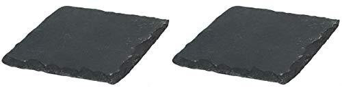 Novaliv 2X Schieferplatten I quadratisch I 15x15x0,5 cm I Schiefer Platten Schieferteller Servierteller Servierplatten Schiefer Teller Set Dekoplatte
