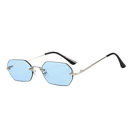 FENGHUAN Gafas de Sol cuadradas sin Montura de polígono a la Moda para Mujer, Gafas de Sol clásicas con Lentes Transparentes para el océano, Gafas deSol Grises y Rosas,Azul Plateado