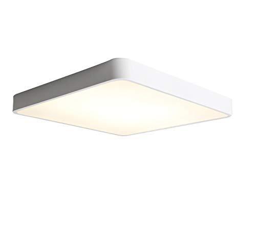 WPH Deckenstrahler - schlichtes Design weiß Metallbordüre Deckenleuchte Kunststofflampe Deckenleuchte energiesparende Deckenleuchte lampestudrineless Dimmbar mit Fernbedienung