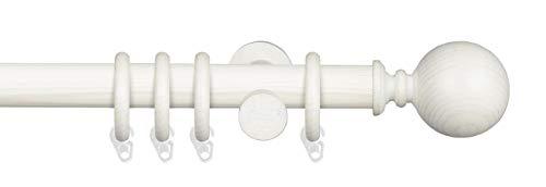 Liedeco Gardinenstange Vorhangstange Stilgarnitur Komplettgarnitur Terra Kugel | Holz | weiß, grau | 28 mm Ø (kalkweiß, 200 cm)