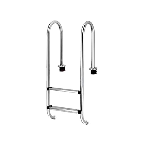 Escalera para piscina, equipo de escalera para piscina sobre suelo de acero inoxidable 304, con 2 peldaños de piscina con protección antideslizante, empotrado/silver / 50cm