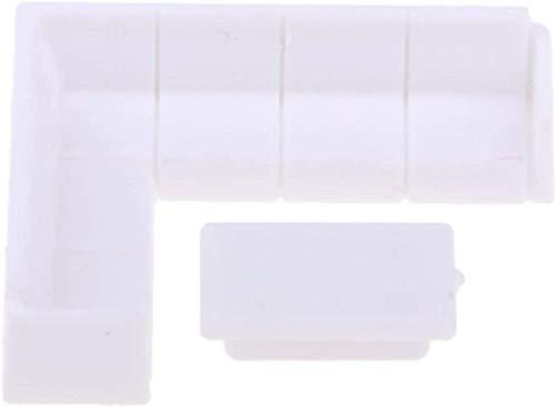 1/75 sofá Blanco Mesa de té artesanía de plástico para Muebles de casa de muñecas DIY Regalo para niños