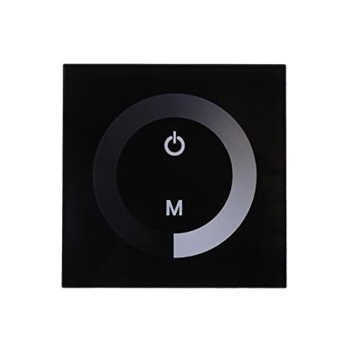 BORDSTRACT Panel Táctil Interruptor Atenuador Montado Pared Controlador Brillo DC 12V-24V Interruptores Táctiles Pared Modernos Mejoras Eléctricas La Decoración del Hogar para Tiras Luz LED(Negro)