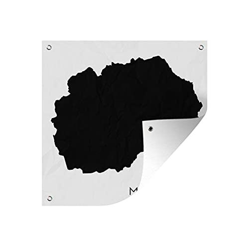 Gartenposter - Schwarz-Weiß-Abbildung von Nord-Mazedonien - 50x50 cm